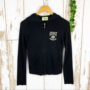 Juicy Couture Black Waffle Knit Zip Up Hoodie